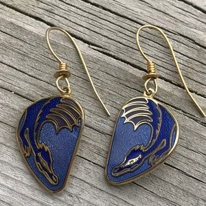 CLOISONNE DRAGON FLIGHT EARRINGS SIGNED ROCCOCO